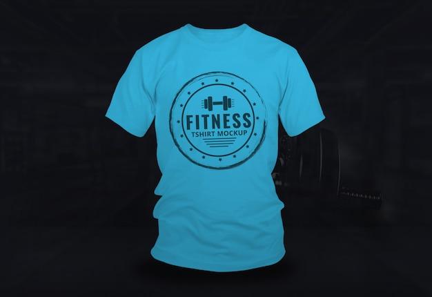 Fitness tshirt mock up design azul Psd Premium