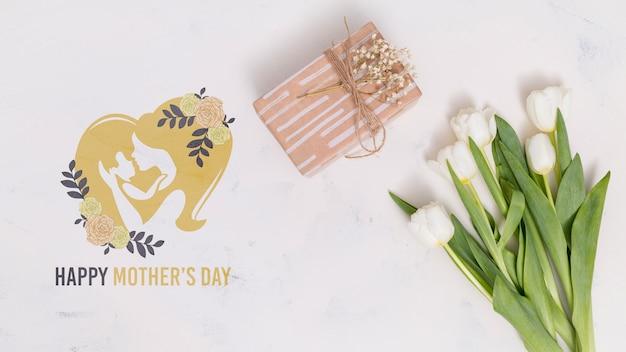 Flat lay dia das mães composição com copyspace para o logotipo Psd grátis