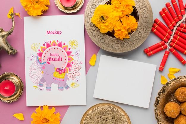 Flat lay feliz diwali festival mock-up cópia espaço cartão Psd grátis