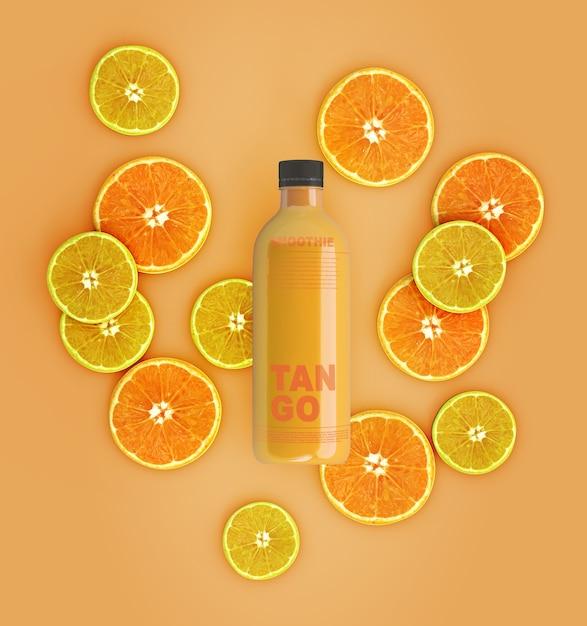 Flat lay laranja e suco de limão mock-up Psd grátis