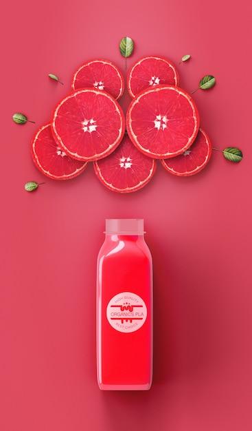 Flat lay refrescante vermelho smoothie mock-up Psd grátis