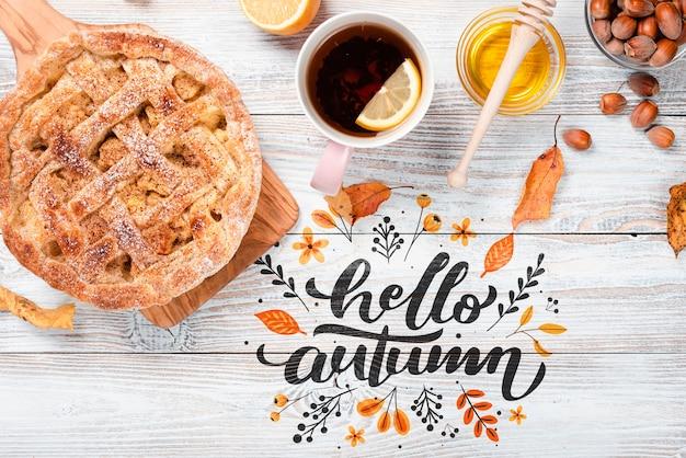 Flat leiga café da manhã de outono com torta Psd grátis