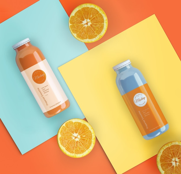 Flat leigos smoothies laranja mock-up Psd grátis