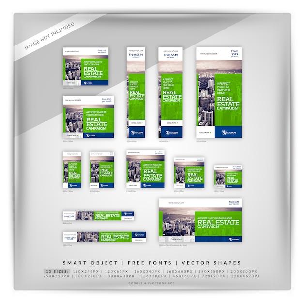 Flat square real estate google e anúncios do facebook Psd Premium