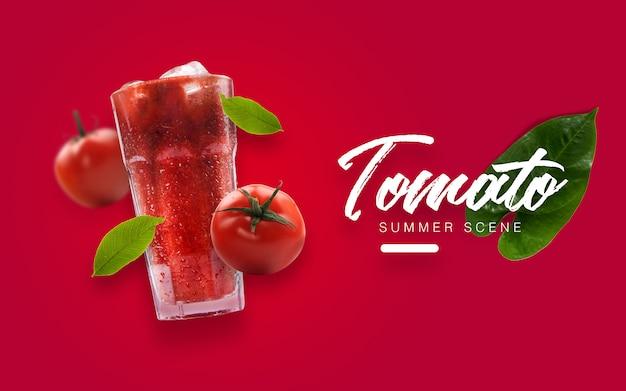 Flutuante tomate summer custom scene Psd Premium