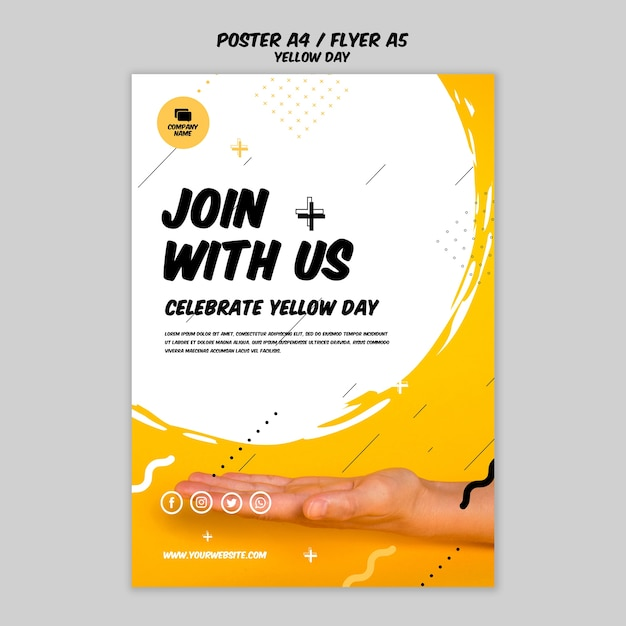 Flyer com modelo de dia amarelo Psd grátis
