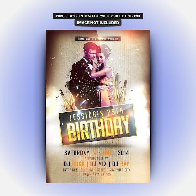 Flyer de festa de aniversário Psd Premium