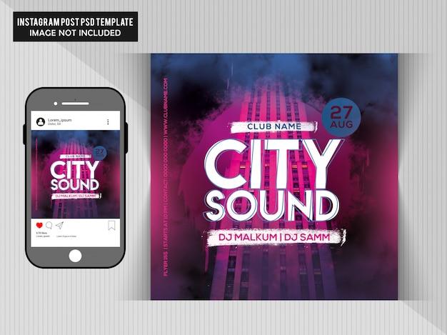 Flyer de festa de som da cidade Psd Premium