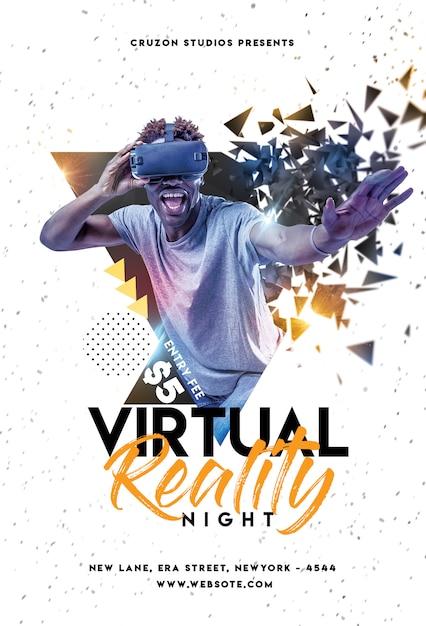 Flyer de festa virtual Psd Premium