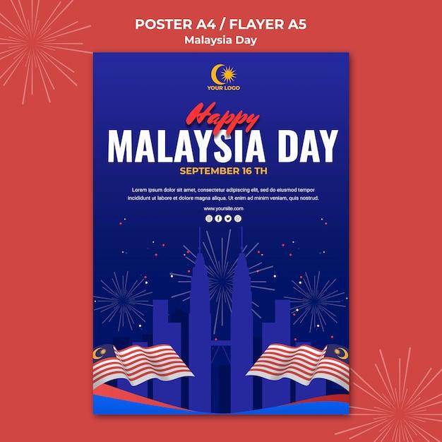Flyer para a celebração do dia da malásia Psd grátis