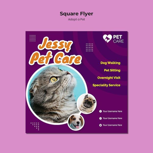 Flyer quadrado adotar um modelo de animal de estimação Psd grátis