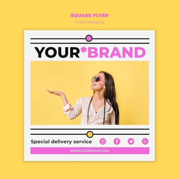 Flyer quadrado de compras on-line de verão Psd grátis