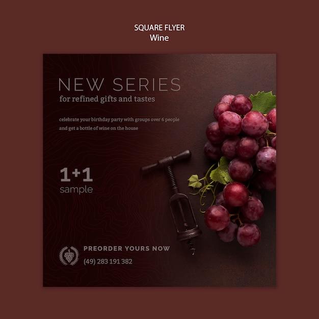 Flyer quadrado para degustação de vinhos Psd grátis