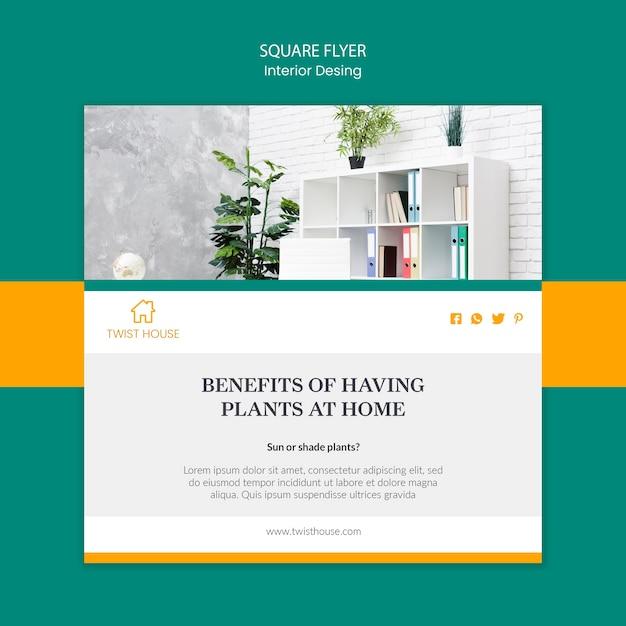 Flyer quadrado para design de interiores Psd grátis