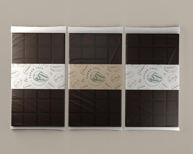 Folha de chocolate comprimidos mock-up Psd grátis
