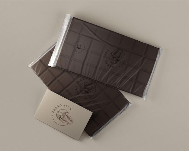 Folha de chocolate embrulho mock-up Psd grátis