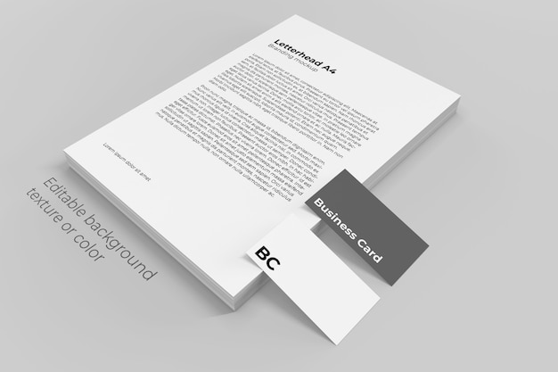 Folhas de papel timbrado empilham maquete com cartões de visita Psd Premium