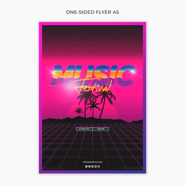 Folheto a5 de um lado para o festival de música dos anos 80 Psd grátis