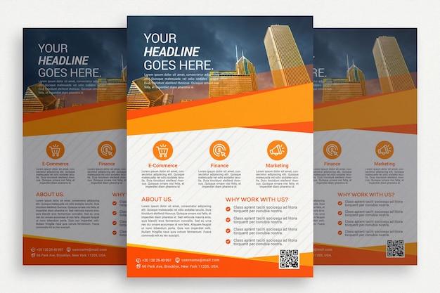 Folheto comercial branco com detalhes em laranja Psd grátis