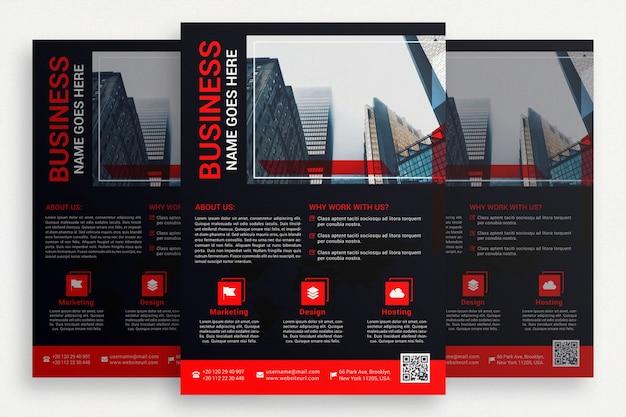 Folheto comercial preto com detalhes vermelhos Psd grátis