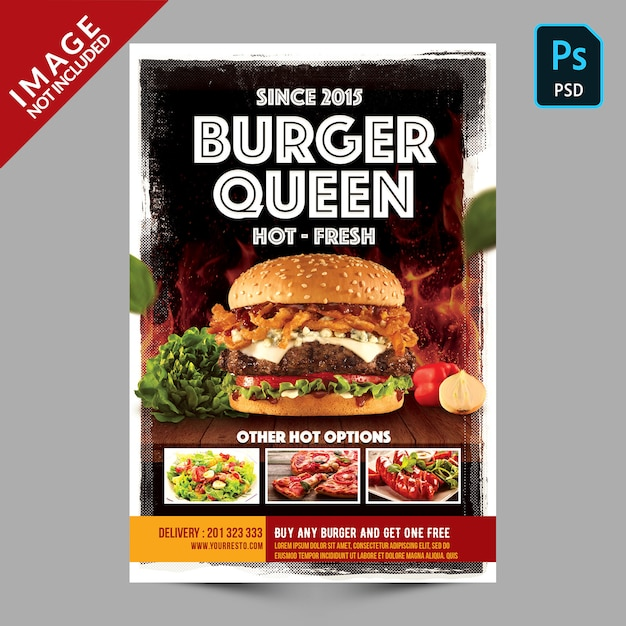Folheto da promoção do restaurante do hamburguer Psd Premium