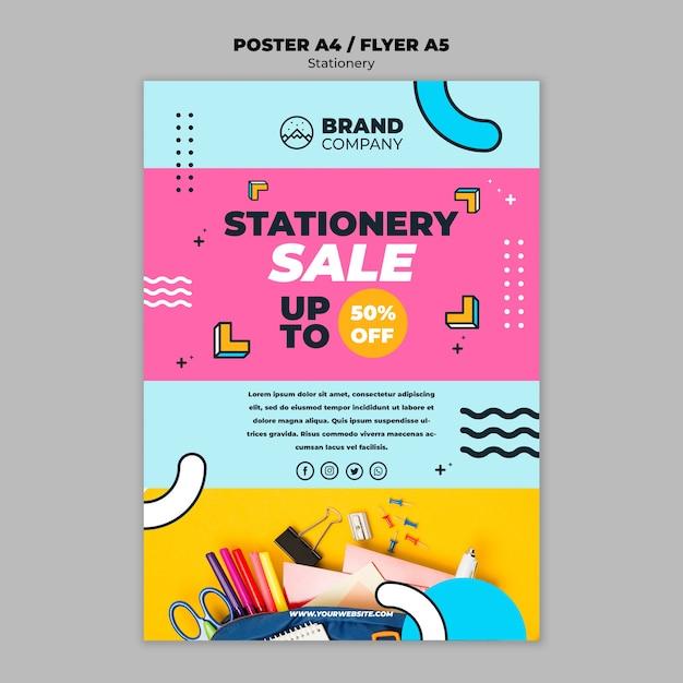 Folheto de conceito de venda de artigos de papelaria Psd grátis