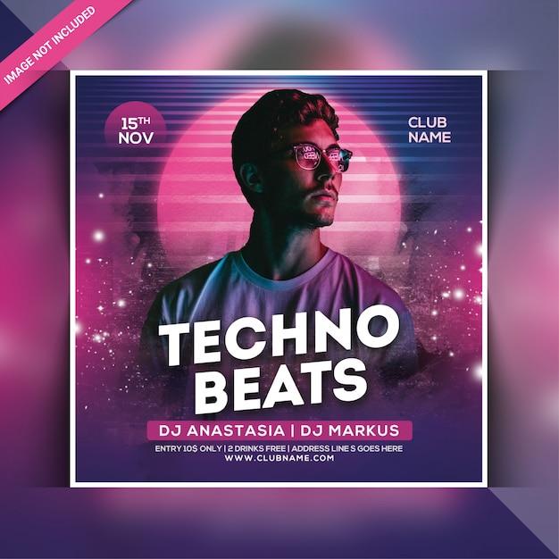 Folheto de festa de batidas de techno Psd Premium