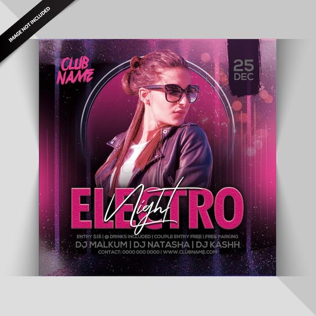Folheto de festa electro night Psd Premium