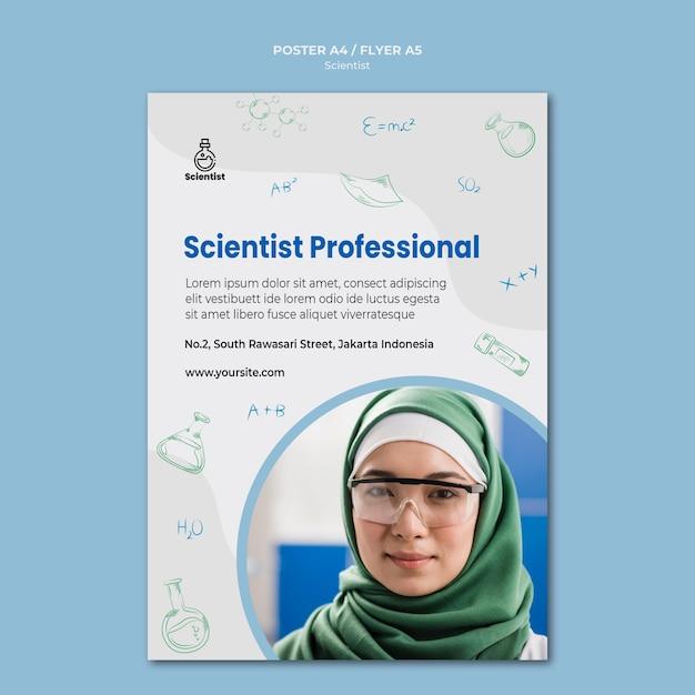 Folheto de modelo de anúncio do clube de ciências Psd grátis