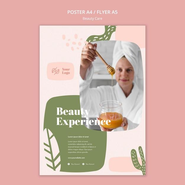 Folheto de modelo de cuidados de beleza Psd grátis