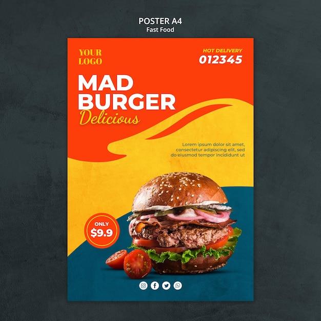 Folheto de modelo de fast food Psd Premium