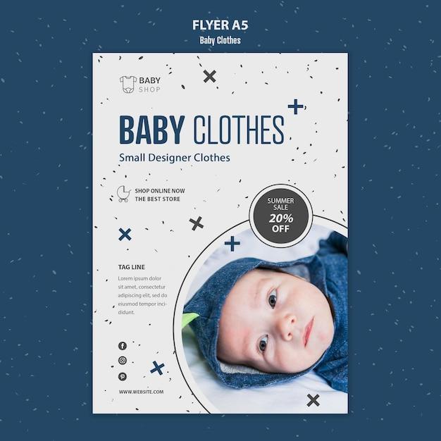 Folheto de modelo de roupas de bebê Psd grátis