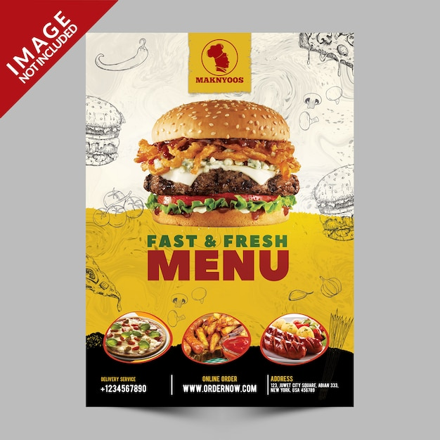 Folheto de promoção de menu rápido e fresco Psd Premium