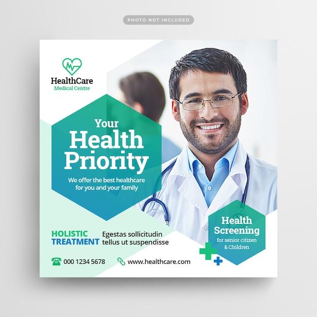 Folheto de saúde médico post de mídia social & web banner Psd Premium