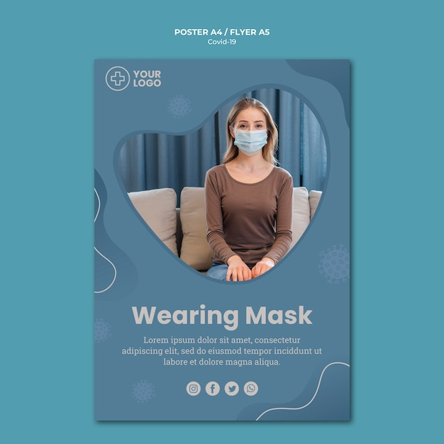 Folheto do conceito de coronavírus de máscara de mulher Psd grátis