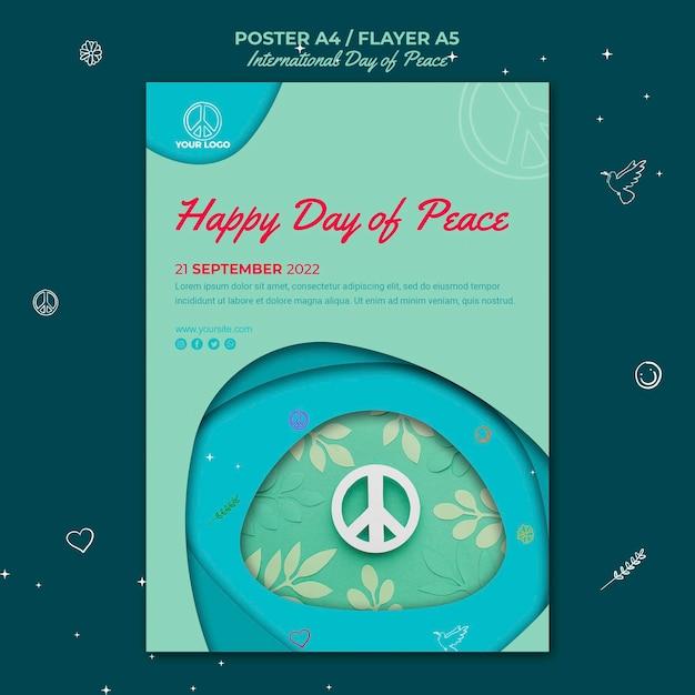 Folheto do dia internacional da paz com o símbolo da paz em papel Psd grátis