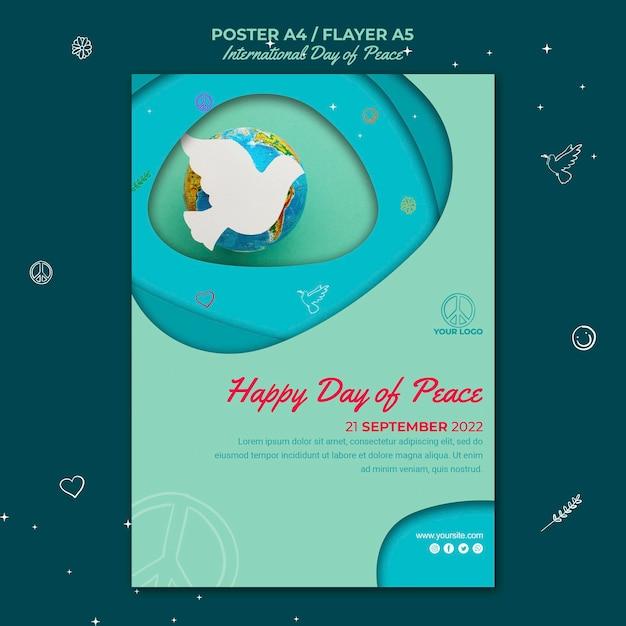 Folheto do dia internacional da paz com pássaro de papel Psd grátis