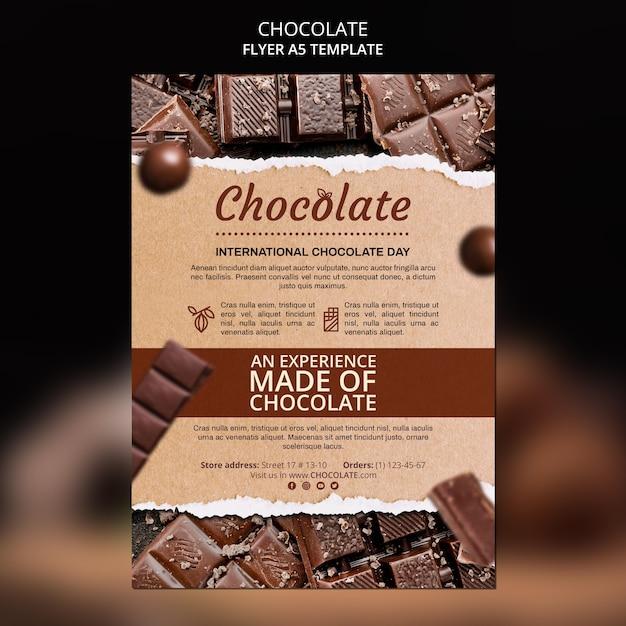 Folheto modelo de loja de chocolate Psd grátis