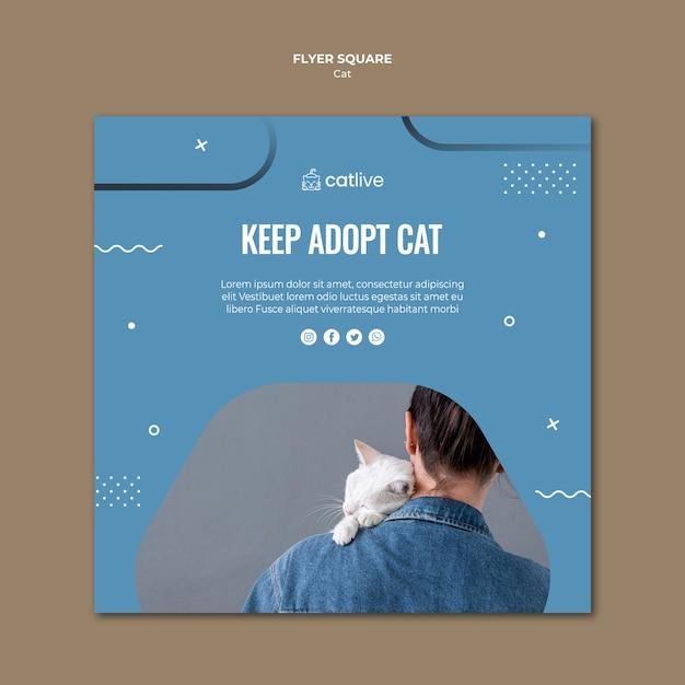 Folheto quadrado de adoção de gato Psd grátis
