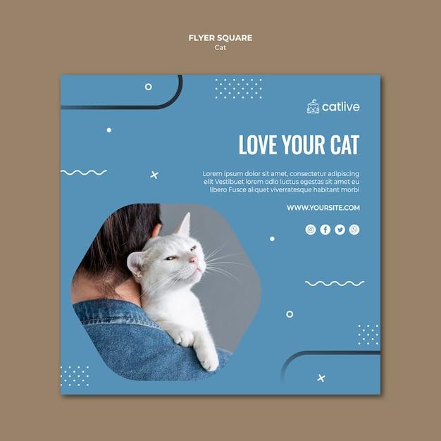 Folheto quadrado de amante de gato Psd grátis