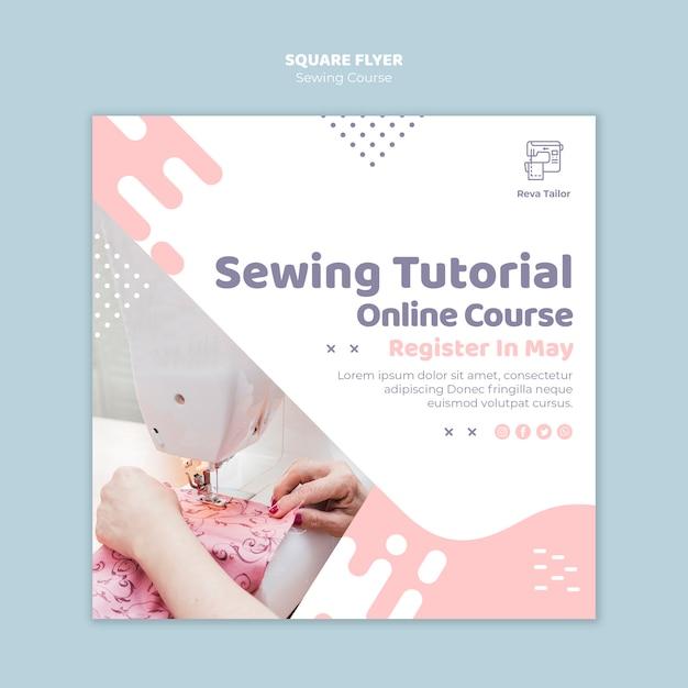 Folheto quadrado de curso de costura on-line Psd grátis