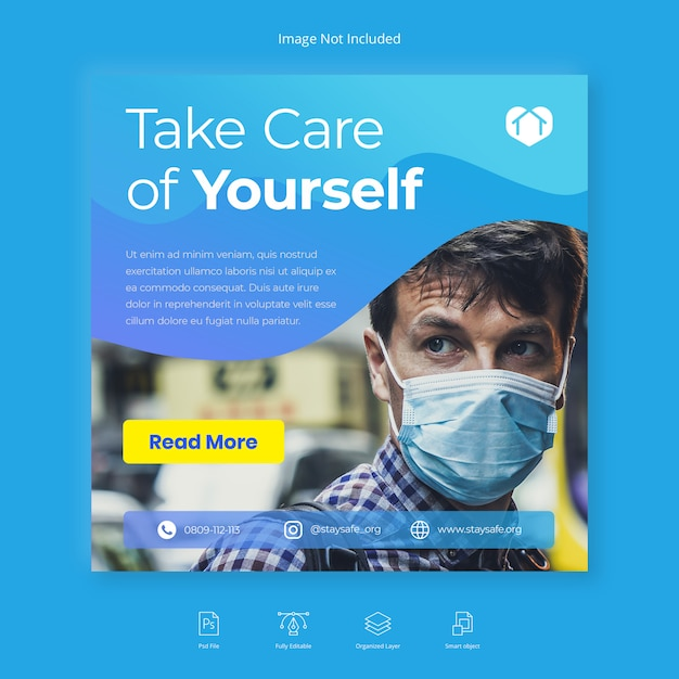 Folheto quadrado de saúde médica banner mídia social instagram post Psd Premium