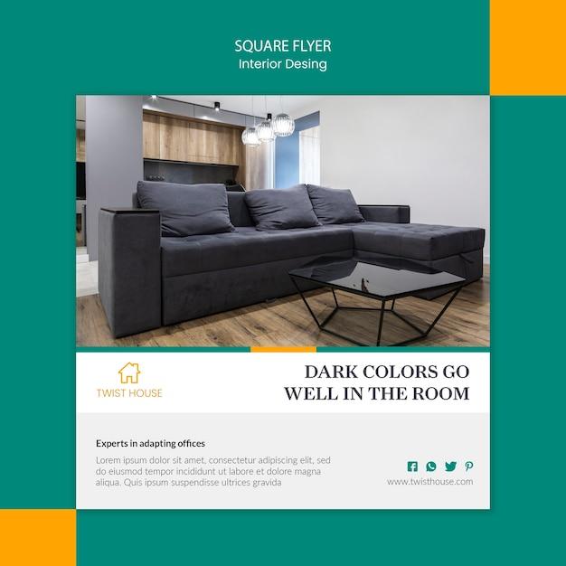 Folheto quadrado para design de interiores Psd grátis