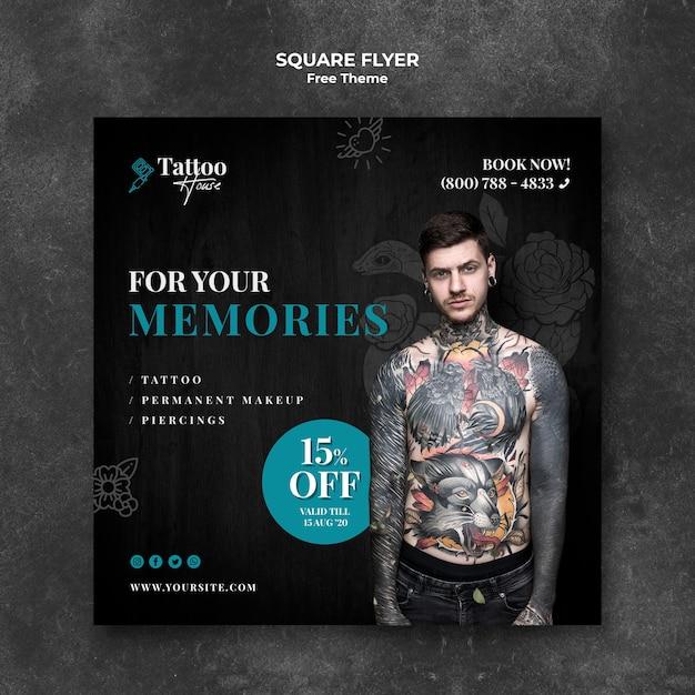 Folheto quadrado profissional de estúdio de tatuagem Psd grátis