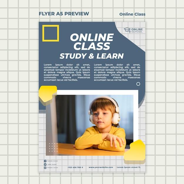 Folheto vertical para aulas online com criança Psd grátis