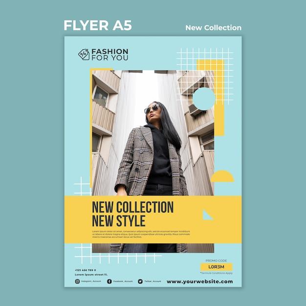 Folheto vertical para coleção de moda com a mulher na natureza Psd grátis