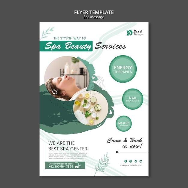 Folheto vertical para massagem spa com mulher Psd grátis