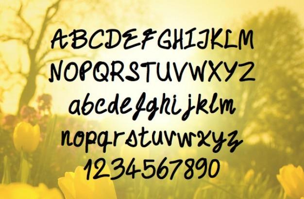 Fonte escrita mão Psd grátis
