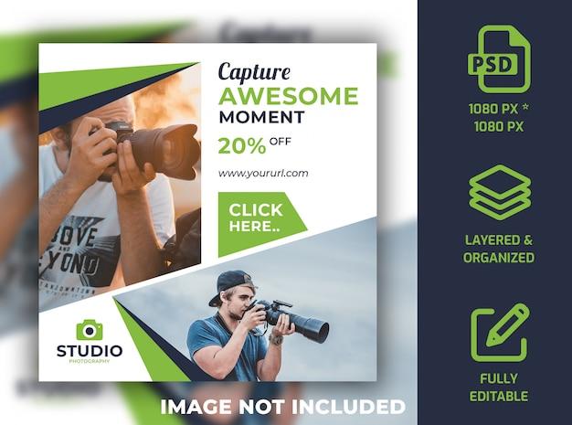 Fotografia social media post banner design modelo psd Psd Premium