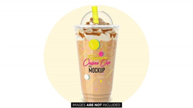 Frappuccino copo de recipiente de plástico com mockup psd de tubulação Psd Premium